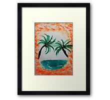 Palm Trees hanging over sea in Oval, with orange splash,, watercolor Framed Print