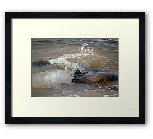 Rocks and Wave Framed Print