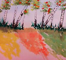 Birch Trees Along Path on Hill, watercolor by Anna  Lewis