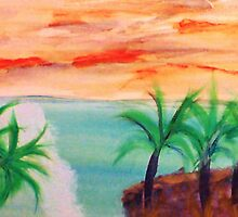 Islands with Palm Trees, watercolor by Anna  Lewis, blind artist