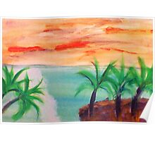 Islands with Palm Trees, watercolor Poster