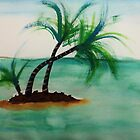 Small Island with Palm trees, watercolor by Anna  Lewis