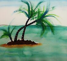 Small Island with Palm trees, watercolor by Anna  Lewis, blind artist