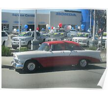 Capture of a classic car from a moving bus  Poster