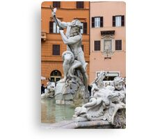 Marble Muscles - Fountain of Neptune, Piazza Navona, Rome, Italy Canvas Print