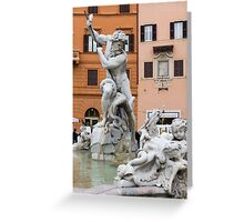 Marble Muscles - Fountain of Neptune, Piazza Navona, Rome, Italy Greeting Card