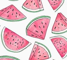 Watercolour Watermelons by jellyelly