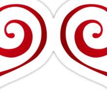 Red Swirly Love Hearts Sticker