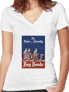For Peace and Security Buy Bonds - WWII Women's Fitted V-Neck T-Shirt
