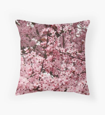 Spring Tree Blossoms Pink Flowering Trees art Baslee Troutman Throw Pillow