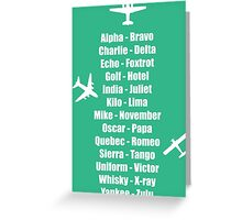 Pilot Phonetic Alphabet Military Cadet Airplanes Greeting Card
