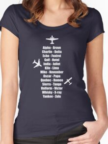Pilot Phonetic Alphabet Military Cadet Airplanes Women's Fitted Scoop T-Shirt