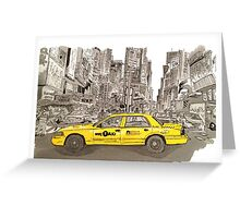 NYC - Times Square - Hand Drawn - Taxi - Cab Greeting Card