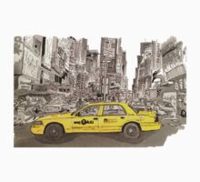 NYC - Times Square - Hand Drawn - Taxi - Cab One Piece - Short Sleeve