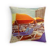 A Morning in South Beach, Miami Throw Pillow