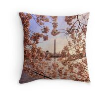Cherry Blossoms And the Washington Monument Throw Pillow