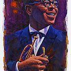 Dizzy Gillespie in Purple and Blue by garthglaz