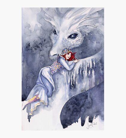 White Dragon Rider Photographic Print