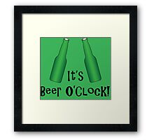 It's Beer O'Clock Party Time Green Bottles Framed Print