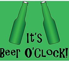 It's Beer O'Clock Party Time Green Bottles Photographic Print