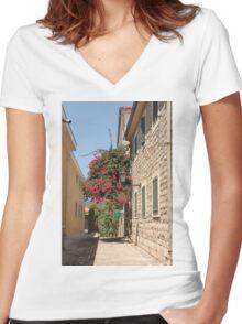 The streets of Herceg Novi Women's Fitted V-Neck T-Shirt