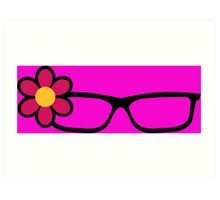 Geek Girl Black Glasses Pretty Colourful Flower Art Print