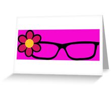 Geek Girl Black Glasses Pretty Colourful Flower Greeting Card