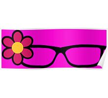 Geek Girl Black Glasses Pretty Colourful Flower Poster