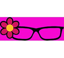 Geek Girl Black Glasses Pretty Colourful Flower Photographic Print