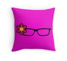 Geek Girl Black Glasses Pretty Colourful Flower Throw Pillow