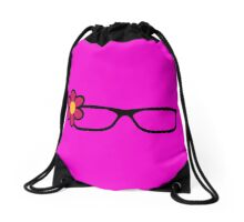 Geek Girl Black Glasses Pretty Colourful Flower Drawstring Bag