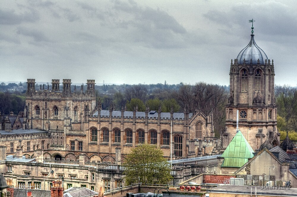 Christ Church Oxford From The Carfax Tower by John Hare