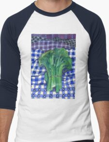 Broccoli and Gingham Men's Baseball ¾ T-Shirt