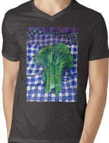 Broccoli and Gingham Mens V-Neck T-Shirt