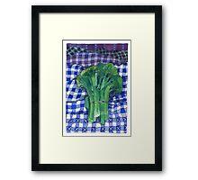 Broccoli and Gingham Framed Print