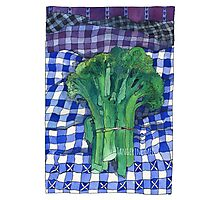 Broccoli and Gingham Photographic Print