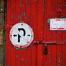 Camouflaged face on red door, Howth, Dublin. by heatherbyrne