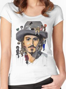 Johnny Depp no back Women's Fitted Scoop T-Shirt