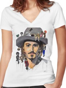 Johnny Depp no back Women's Fitted V-Neck T-Shirt