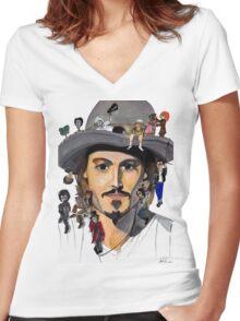 Johnny Depp no back Women's Fitted V-Neck T-Shirt