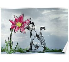 ScribblerFlower with Cat Poster