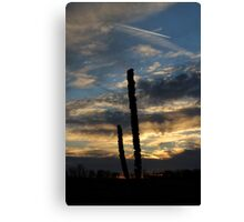 Sunset over empty field Canvas Print