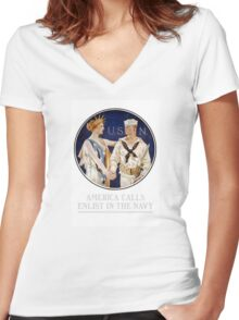 America Calls - Enlist In The Navy Women's Fitted V-Neck T-Shirt