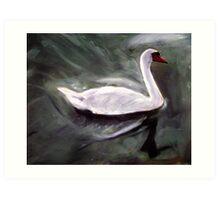 White Swan Oil Painting Art Print