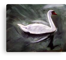 White Swan Oil Painting Canvas Print