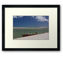 Red Boat Ocean Scene Framed Print