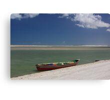 Red Boat Ocean Scene Canvas Print