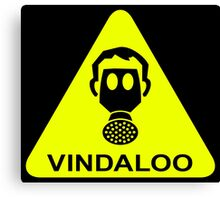 Vindaloo Curry Gas Mask Yellow Warning Sign Canvas Print