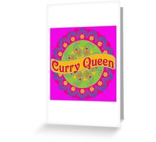 Ethnic Print Curry Queen Spicy Curries Food Addict Greeting Card