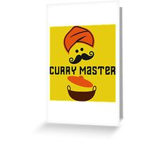Funny Curry Master Indian Restaurant Chef Turban and Moustache Greeting Card
